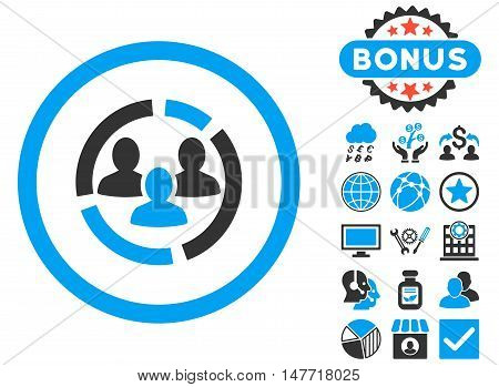 Demography Diagram icon with bonus elements. Vector illustration style is flat iconic bicolor symbols, blue and gray colors, white background.