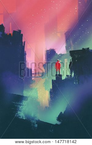 night scenery with red man standing on abandoned city, illustration painting