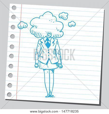 Businesswoman with head in clouds