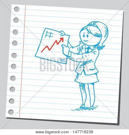 Businesswoman with economy diagram
