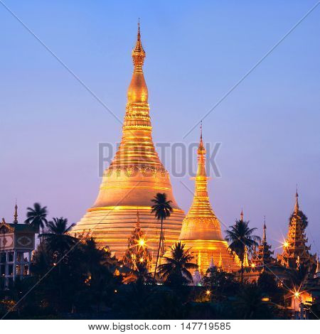 Shwedagon Pagoda view in Yangon Myanmar. The pagoda is situated on Singuttara Hill and dominates the Yangon skyline