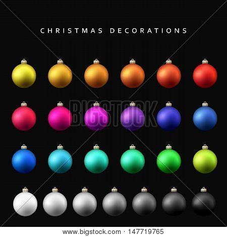 Christmas decoration balls range. Matt shade Christmas balls isolated on a black background realistic vector illustration