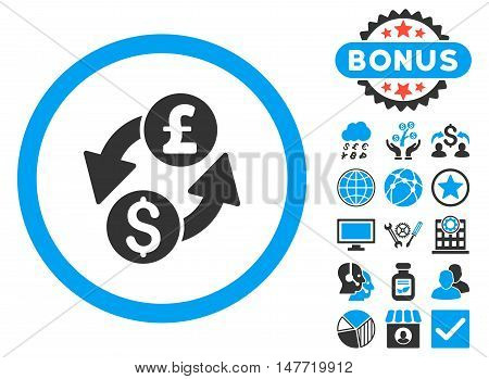 Dollar Pound Exchange icon with bonus design elements. Vector illustration style is flat iconic bicolor symbols, blue and gray colors, white background.