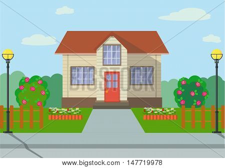 Colorful eco cottage house with lights, lawns, flowers, blue sky and garden objects in flat style.