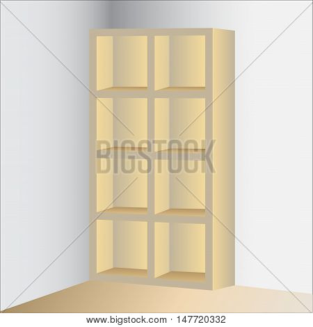 Empty rack display Isolated on Wall Background for interior design vector illustration