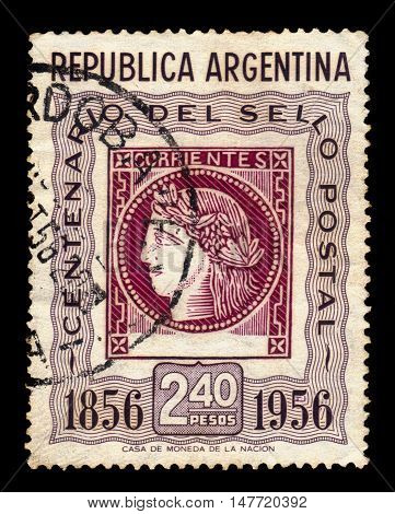 Argentina - CIRCA 1956: A stamp printed in Argentina shows profile head of Ceres, the roman goddess of agriculture, postage stamp Corrientes province, series centenary of Argentine , circa 1956