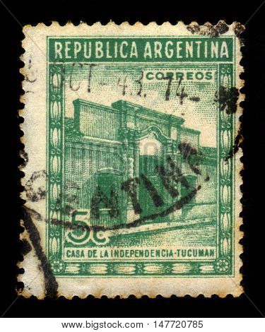 Argentina - CIRCA 1943: A stamp printed in Argentina shows Casa de Tucuman, site of the Argentine declaration of independence, circa 1943