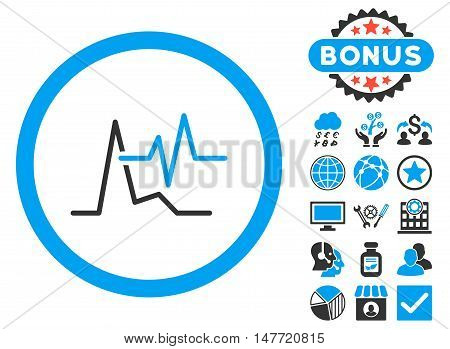 ECG icon with bonus pictures. Vector illustration style is flat iconic bicolor symbols blue and gray colors white background.
