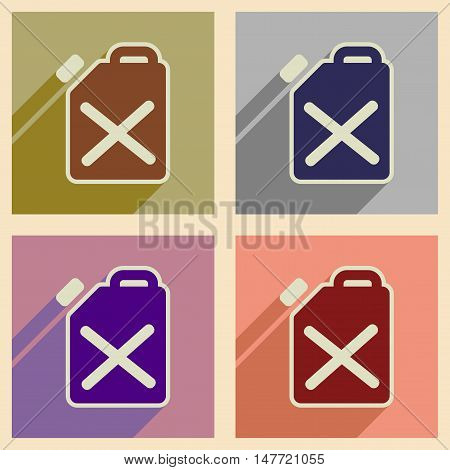 Concept of flat icons with  long shadow jerrycan