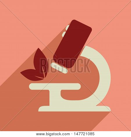 Flat web icon with long  shadow microscope