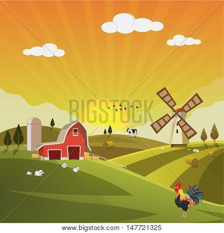 Farm field flat countryside afternoon autumn landscape. Organic food agriculture concept for any design. Farmland afternoon with farm house, hay bale, barn, mill, windmill, sheep, cow, Background vector illustration.