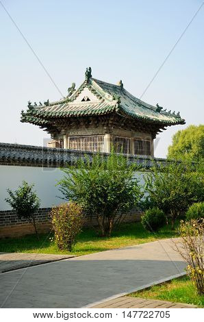 A traditional chinese buildings on the Kong Family mansion property in the city of Qufu lcoated in Shandong Province China.