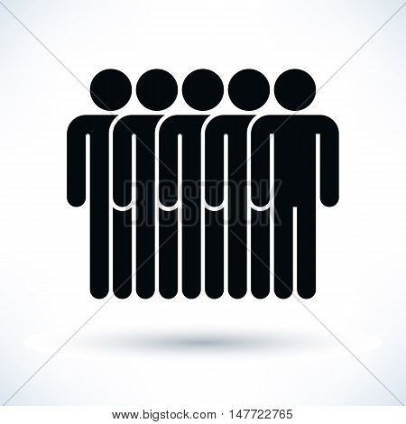 Black five people man figure with gray drop shadow isolated on white background in flat style. Graphic design elements save in vector illustration 8 eps