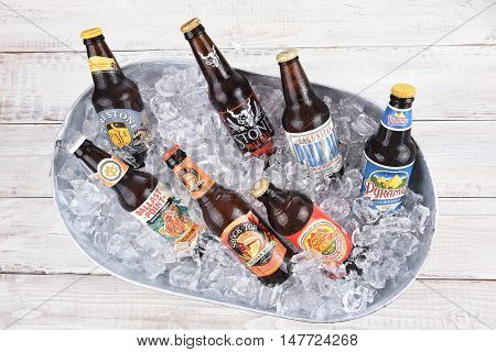 IRVINE CALIFORNIA - AUGUST 31 2016: Craft Beers in Ice Bucket. Craft beers or Microbrews are a fast growing segment of the adult beverage market.