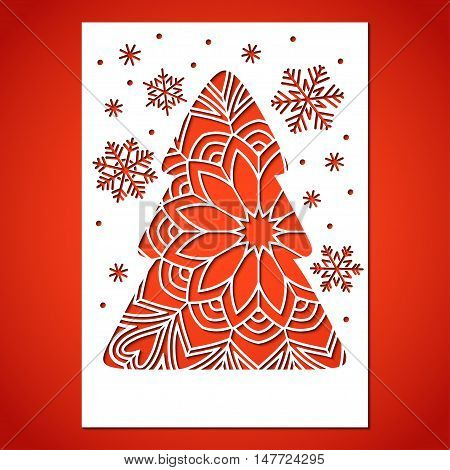 Openwork Christmas tree and snowflakes. Laser Cutting template for greeting card.