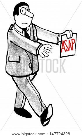 B&W business illustration of a zombie man carrying a note that requests 'ASAP'.