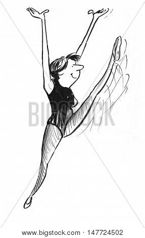 B&W illustration of happy woman exercising and kicking leg high in the air.