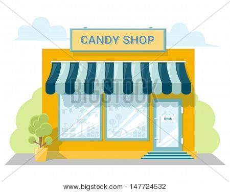 Facade candy store with a signboard awning and products in shopwindow. Abstract image in a flat design. Front shop for concept brochure or banner. Vector illustration isolated on white background