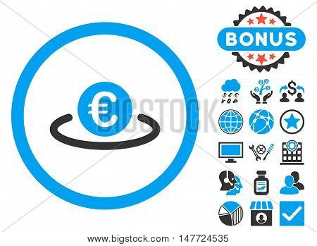 Euro Placement icon with bonus symbols. Vector illustration style is flat iconic bicolor symbols, blue and gray colors, white background.