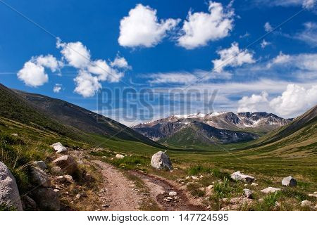 Road to Ukok plateau in Altay Mountains Russia