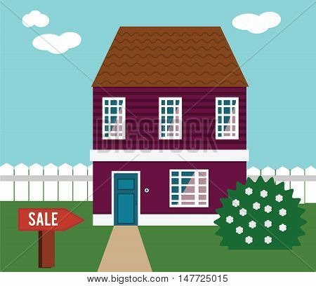 Real estate on sale. House cottage townhouse mansion vector illustration with sale sign in yard