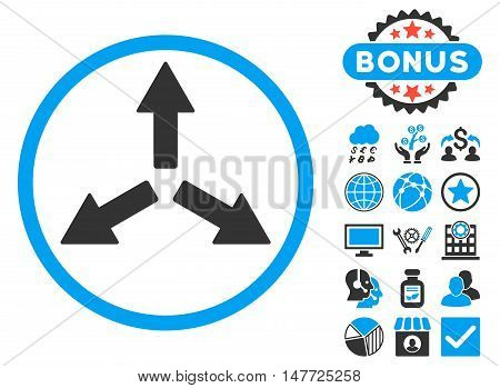 Expand Arrows icon with bonus images. Vector illustration style is flat iconic bicolor symbols blue and gray colors white background.