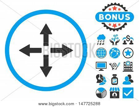 Expand Arrows icon with bonus images. Vector illustration style is flat iconic bicolor symbols, blue and gray colors, white background.