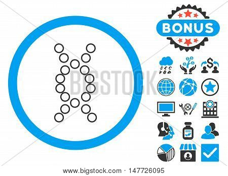 Genome icon with bonus pictures. Vector illustration style is flat iconic bicolor symbols, blue and gray colors, white background.