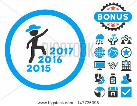 Gentleman Steps Years icon with bonus pictogram. Vector illustration style is flat iconic bicolor symbols, blue and gray colors, white background.