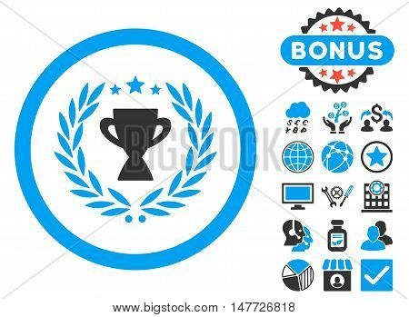 Glory icon with bonus images. Vector illustration style is flat iconic bicolor symbols, blue and gray colors, white background.