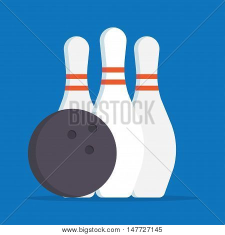 Bowling Skittle and ball. Sport background. vector illustration flat style. Set bowling.