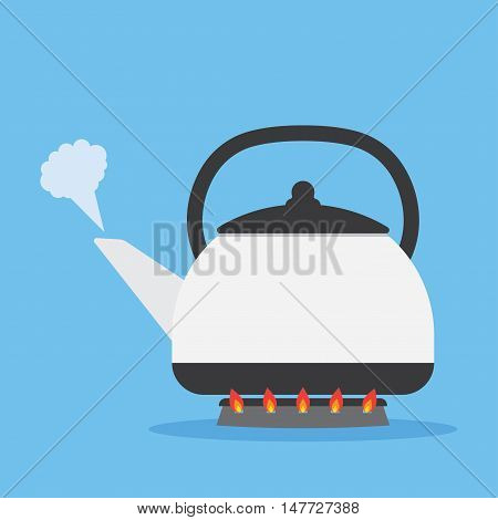 kettle heated on the stove to boil. Isolated on blue background