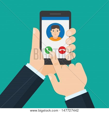Incoming call from man on smartphone screen. Hand holds smartphone finger touch screen.