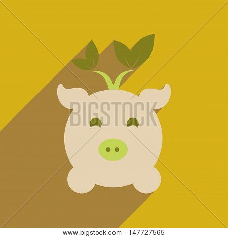 Flat web icon with long  shadow eco pig