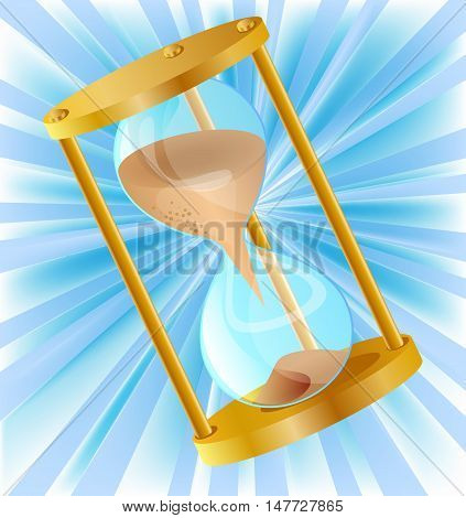 Icon of vector hourglass on the striped background.