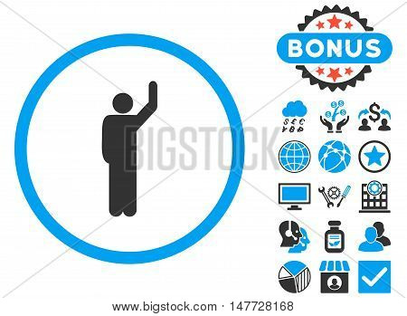 Hitchhike icon with bonus elements. Vector illustration style is flat iconic bicolor symbols, blue and gray colors, white background.