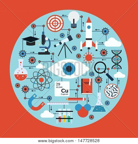 Science research and analysis vector concept. Flat design style web elements collection