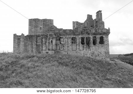 An external view of the ruined hilltop fortress of Crichton castle