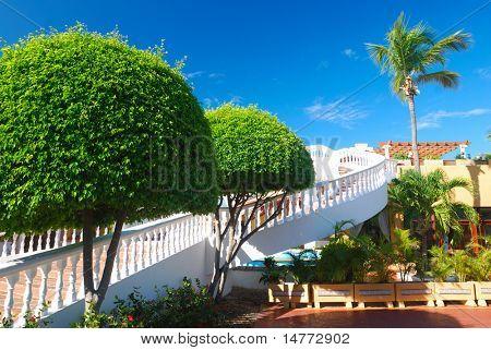 Outdoors stairway in luxury hotel