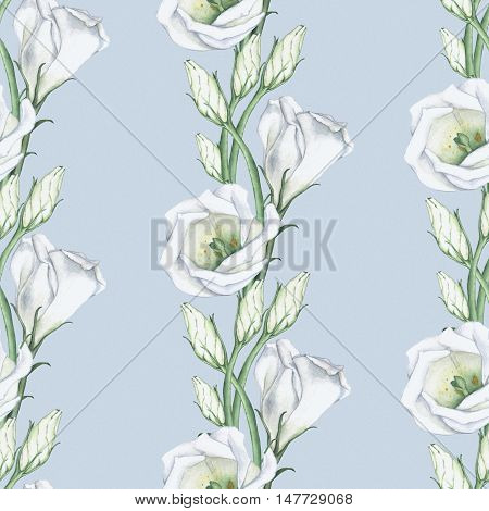 White flowers on a blue background 2. Seamless pattern. Watercolor painting, hand-drawing