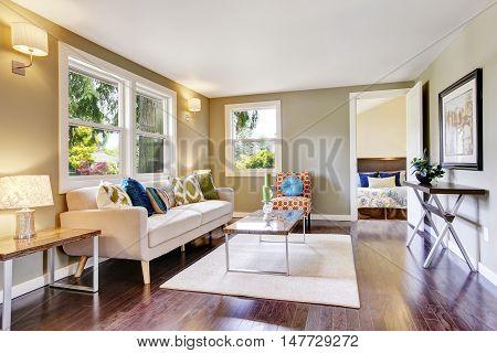 Modern Furnished Living Room Interior With Hardwood Floor