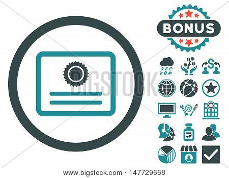 Diploma icon with bonus design elements. Vector illustration style is flat iconic bicolor symbols, soft blue colors, white background.