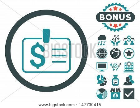 Dollar Badge icon with bonus images. Vector illustration style is flat iconic bicolor symbols, soft blue colors, white background.