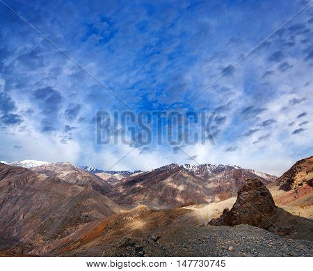 Panorama Of Himalayan Mountain Landscape Along Manali - Leh Road In India