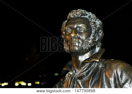 Bust of the writer Alexander Pushkin at night close up