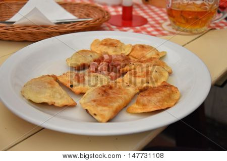 Polish cousine old fashon dishes dumplings eat