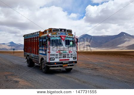 Indian Truck At The Leh - Manali National Highway