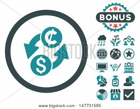 Dollar Cent Exchange icon with bonus images. Vector illustration style is flat iconic bicolor symbols, soft blue colors, white background.