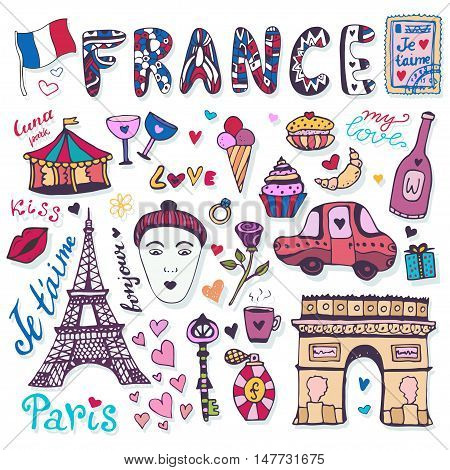 Doodles set of France - Eiffel tower, Triumphal arch and other culture elements. Vector collection.
