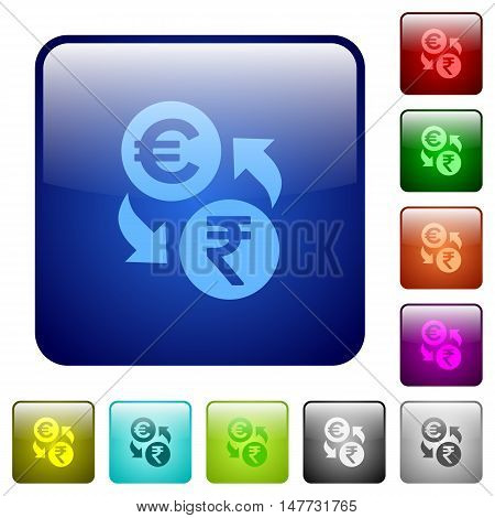 Set of Euro Rupee exchange color glass rounded square buttons